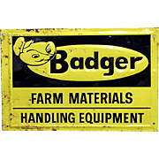 Tin Advertising Sign For Badger Farm Equipment