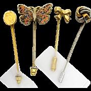 Stickpin Set of Four Different Stick Pins