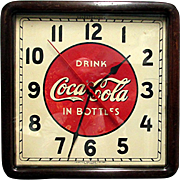 Wood Case Coca Cola Advertising Clock Runs And Keeps Time