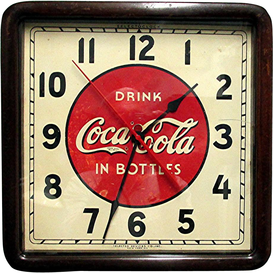 1930 Coca Cola Advertising Clock In Original Wood Case Runs And Keeps Time