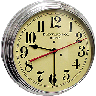 "Round Wall Clock 14 1/2"" diameter E. Howard of Boston Runs and Keeps Accurate Time"