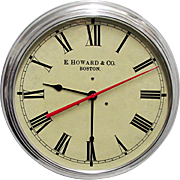 "Wall Clock  14 1/2"" Round Metal Alloy Edward Howard of Boston Slave Clock"