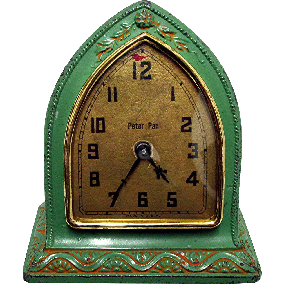 Antique Clock Cast Metal Frankart Style Peter Pan Model Keeps Time