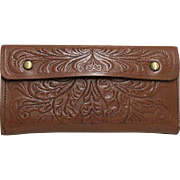 Leather Fly Fishing Wallet Hand Tooled
