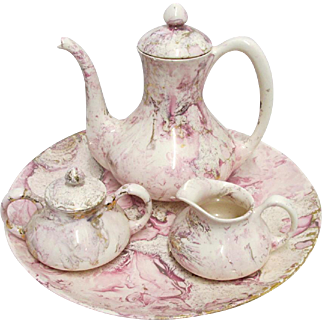 Sascha Brastoff Coffee Set Complete with Tray Surf Ballet in Rare Pink and Platinum