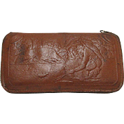 Leather Fly Wallet with Fishing Scene