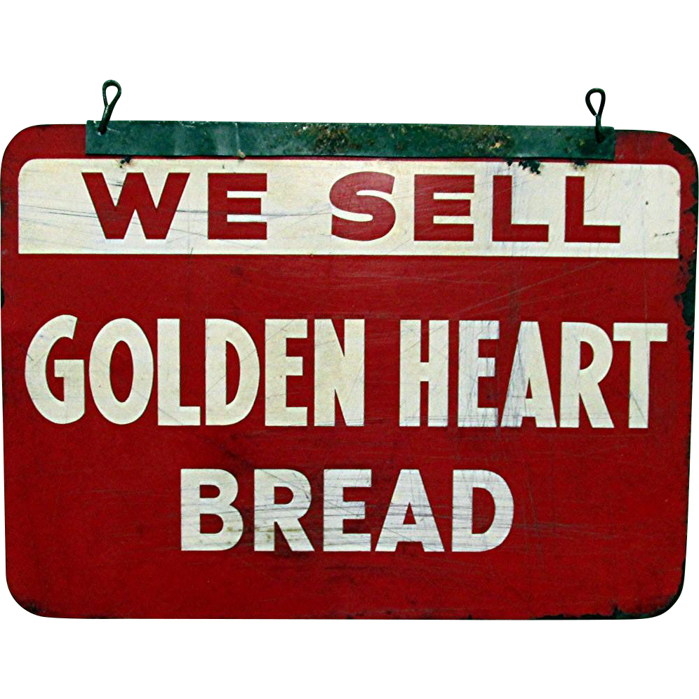 Golden Heart Bread Metal Advertising Sign Double Sided