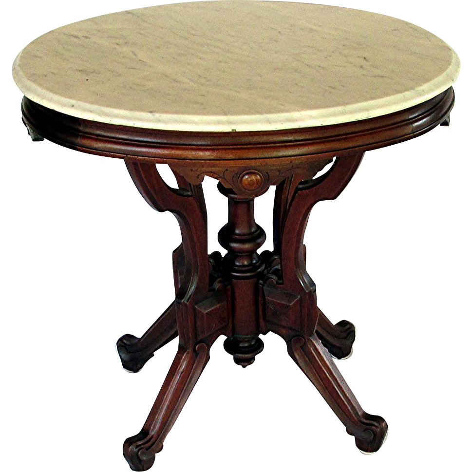 Antique Oval Marble Top Table American Victorian