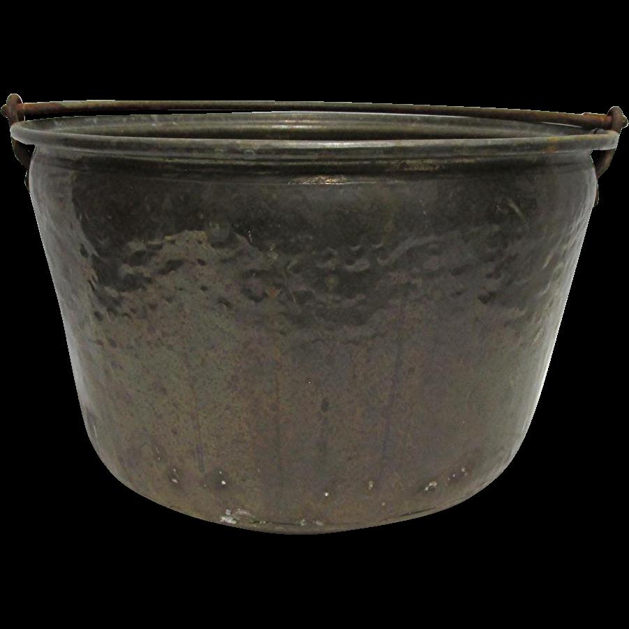 """Brass Kettle, Pot or Pail Hand Hammered 9 1/2"""" Tall 14 1/2"""" diameter"""