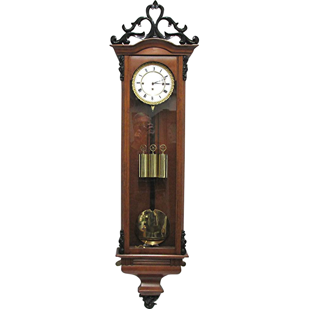 Austrian Vienna Regulator 3 Weight Period Biedermeier Clock