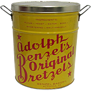 Advertising Pretzel Tin Adolph Benzel's Original Bretzels   Altoona PA.