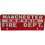 Fire Dept. Captain Metal Vehicle Identification Sign