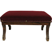 Foot Stool Oak Frame Burgundy Velvet Covered Footstool