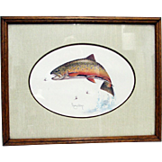Brook Trout Print by Roger Cruwys in Oak Frame