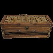 Folk Art Wood Box American Bamboo and Mahogany