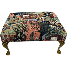 Foot Stool Tapestry Covering on Footstool  with Brass Cabriole Legs