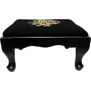 Foot Stool Floral Needlepoint Cover on Footstool