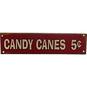 Candy Canes 5 cents Metal Advertising Sign