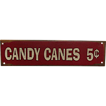 SOLD   SEE others signs for sale  Candy Canes 5 cents Metal Advertising Sign
