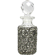 Perfume Bottle Silver Sleeve Overlay EAPG Cologne or Scent Bottle