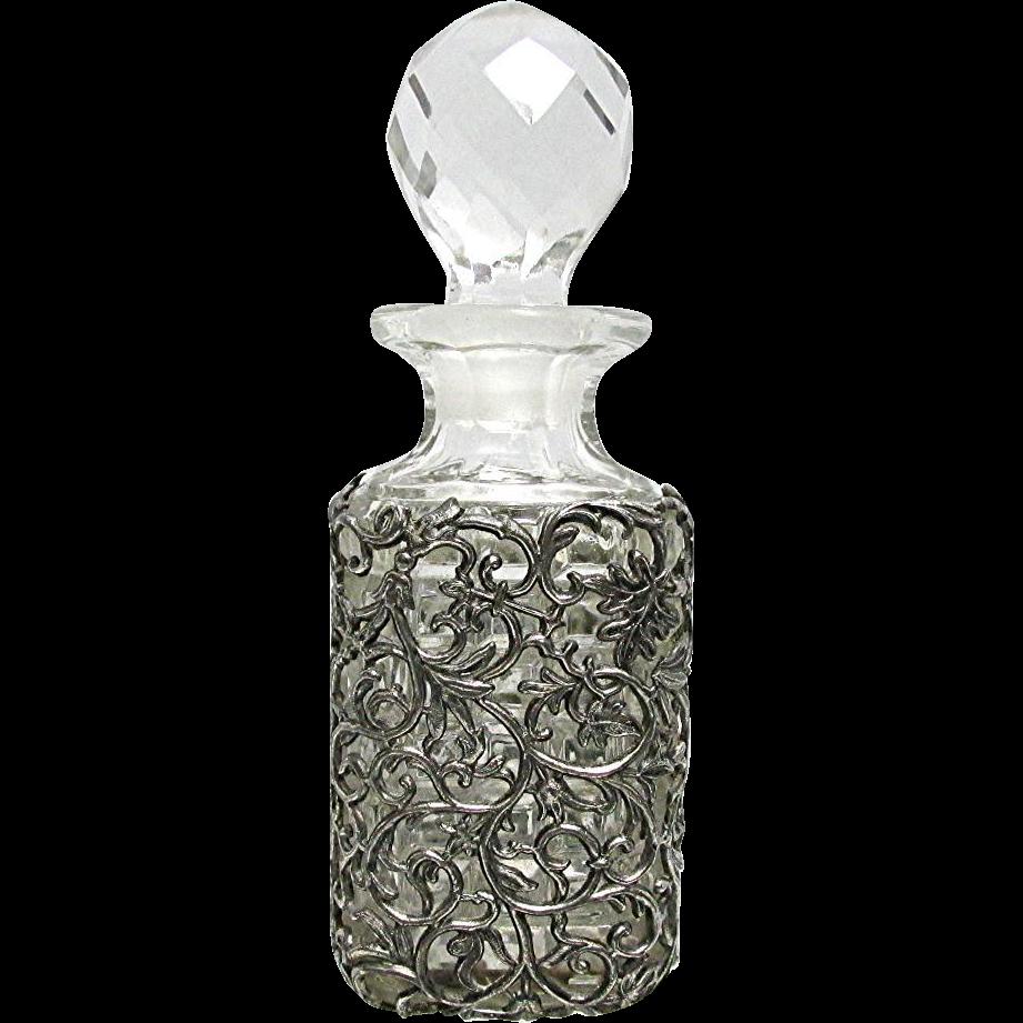 Perfume Bottle Silver Sleeve Overlay EAPG Cologne or Scent Bottle