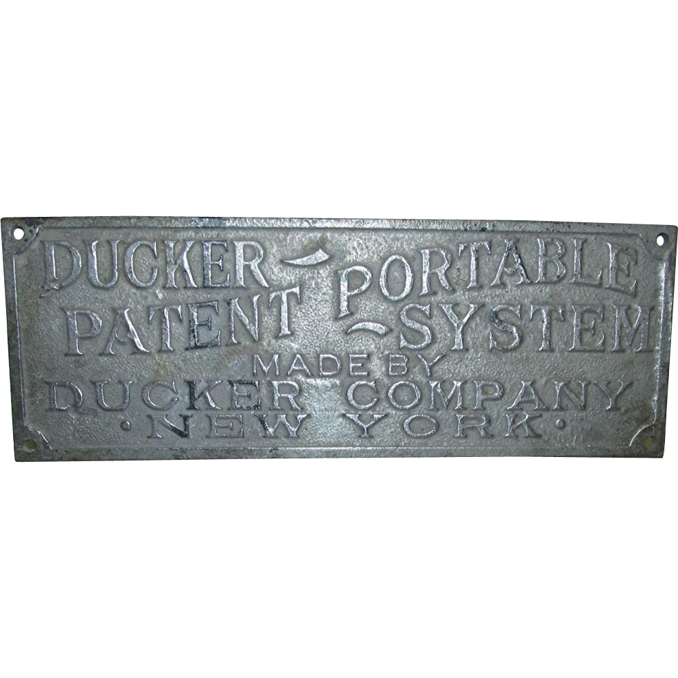 Advertising Sign Cast Metal  Ducker Co. Rail Road Turn of the Century