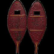 Antique Red Metal Children's Snowshoes