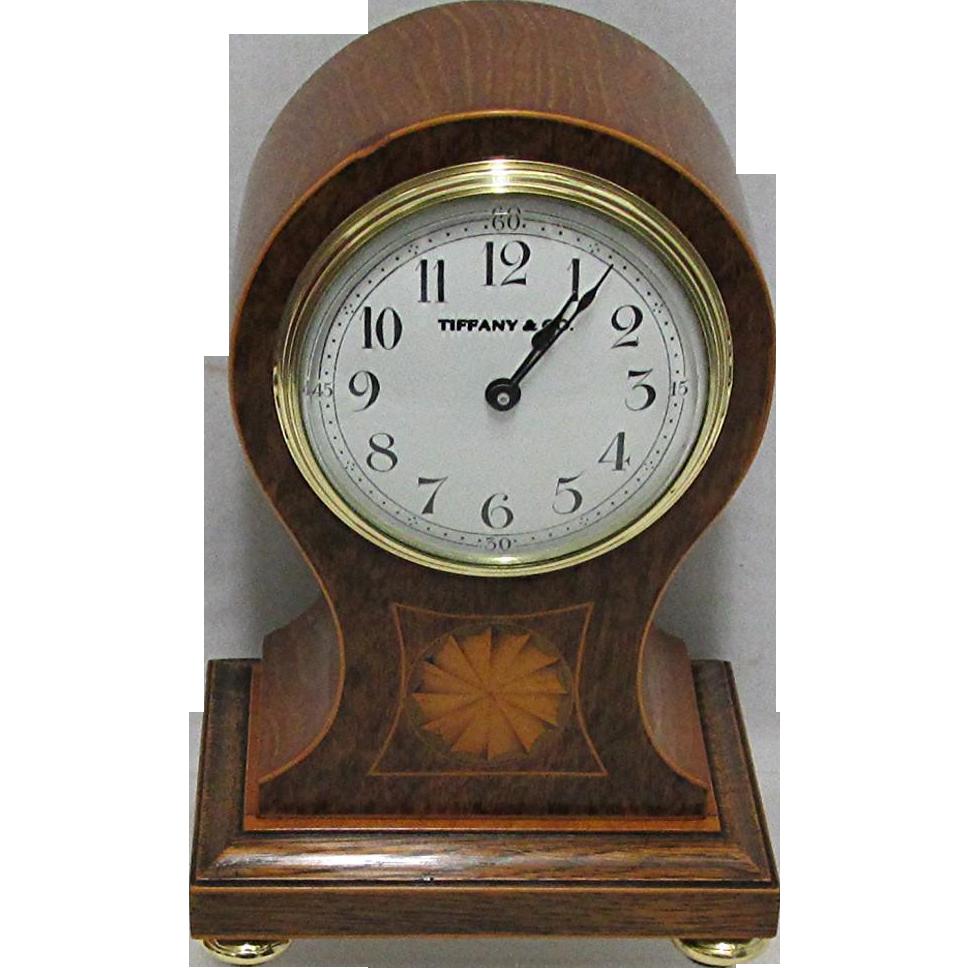Tiffany Inlaid Balloon Mantel Clock Runs and Keeps Correct Time