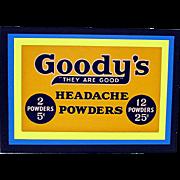 Drugstore or Pharmacy Advertising Sign Goody's Headache Powder