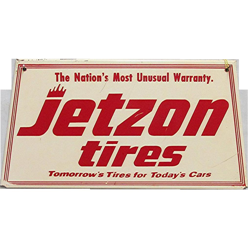 Original Jetzon Tires Metal Advertising Sign
