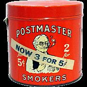 Advertising Tin Postmaster Cigar