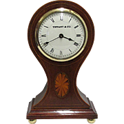 Inlaid Mahogany Tiffany Balloon Clock Runs And Keeps Time