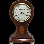 Inlaid Mahogany Tiffany Balloon Clock Runs And Keeps Time