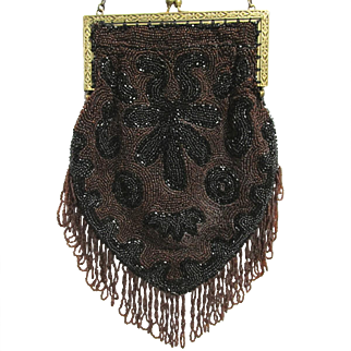 Beaded Purse Art Nouveau Hand Bag Made in Belgium