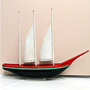 Three Mast Wood Schooner American Folk Art