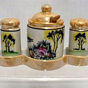 Condiment Set with Tray Lusterware Porcelain $45