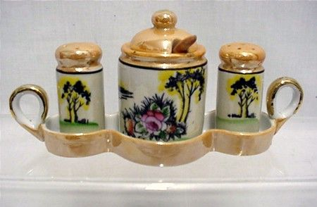 Condiment Set with Tray Lusterware Porcelain