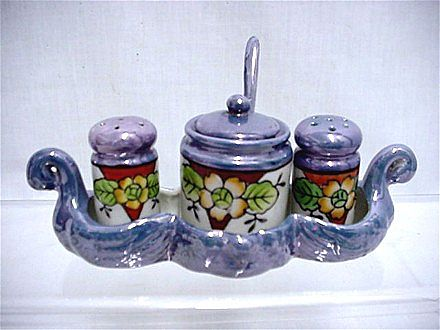 Lusterware Condiment Set Hand Painted in Swan Tray    ***Selling at Cost