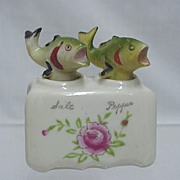 Bass Fish Nodder Salt and Pepper Shaker Set  No Damage