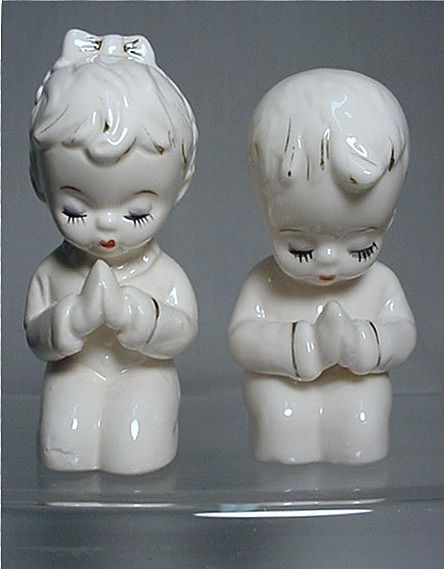 Salt and Pepper Set Kneeling Children Praying Shakers Two Sets $16 each Both for $29