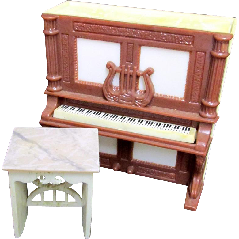 SOLD    Upright Piano Mechanical Salt and Pepper Piano and Bench  Set