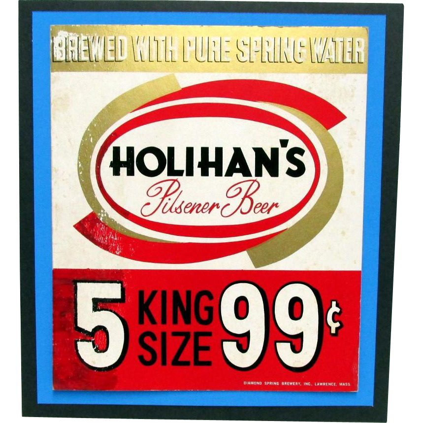 Beer Advertising Sign Holihan's Brewery of Lawrence Mass.