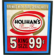 Holihans Beer Advertising Sign Diamond Spring Brewery Lawrence Mass.