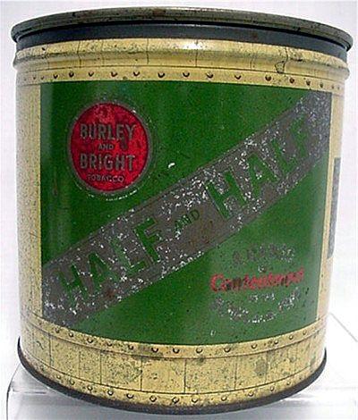 Half & Half Cylindrical Tobacco Advertising Tin