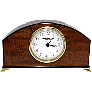 Inlaid Curly Mahogany Mantle Clock Runs and Keeps Time
