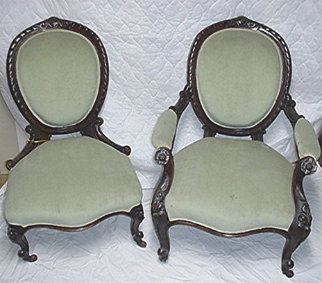 Victorian Chairs Matching Pair of Antique Ladies and Gents - Victorian Chairs Matching Pair Of Antique Ladies And Gents From