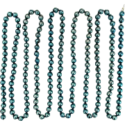 "Mercury Glass BLUE Beads 108"" long Tree Decoration Chain"