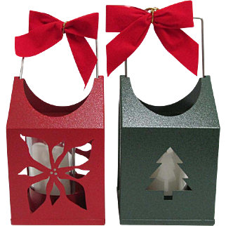 Christmas Candle Lanterns Your Choice $19 each Red Poinsettia or Green Christmas Tree
