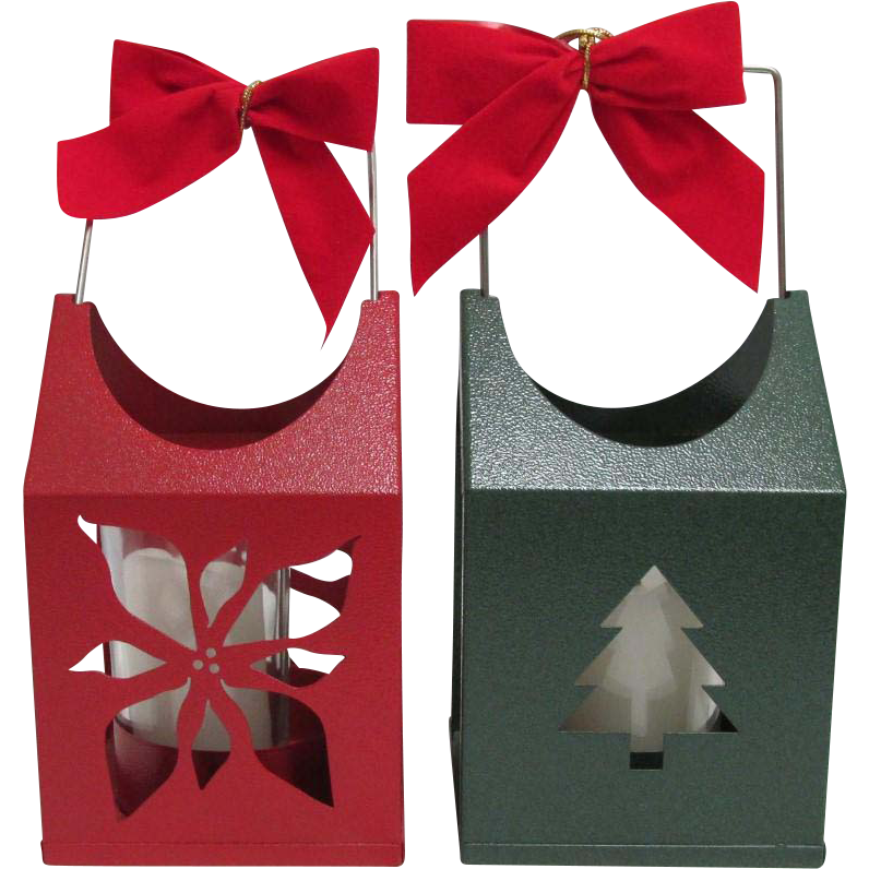 Christmas Candle Lanterns Your Choice $10 each Red Poinsettia or Green Christmas Tree