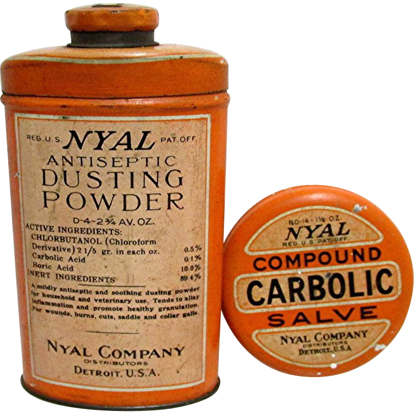 NYAL Drugstore Pharmacy Tins, Carbolic Salve and Antiseptic Dusting Powder